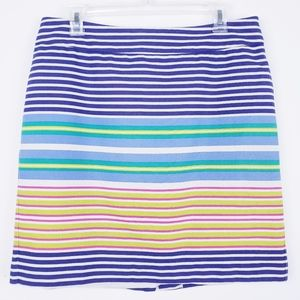 Loft Bright Cabana Stripe 100% Cotton Lined Skirt